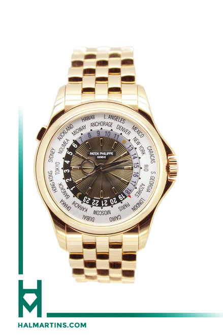 Patek Philippe 18K Rose Gold Jumbo World Time - Silver and Brown Concentric Dial - Ref. 5130R