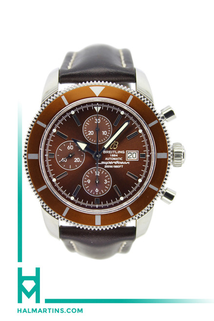Breitling Super Ocean - Heritage - Brown  Bezel and Dial - Black Leather Strap - Model A13320