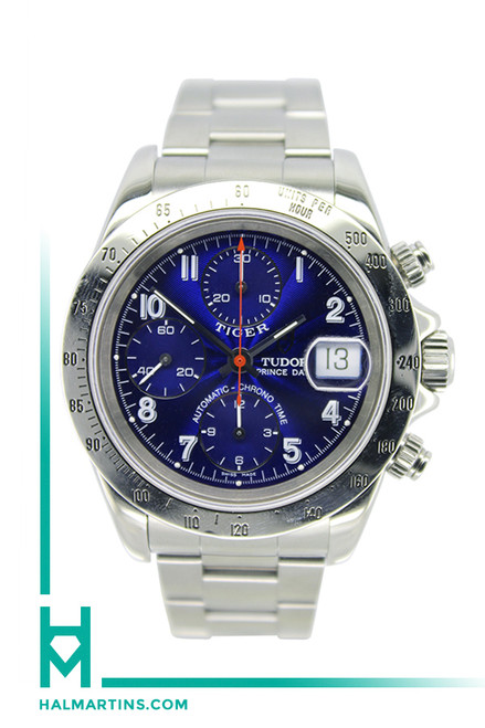 Men's Stainless Steel Tiger Tudor Prince Date - 40mm - Blue Dial - Ref. 79280