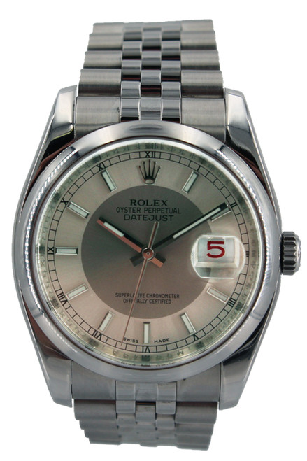 Rolex Stainless Steel Datejust - Steel and Silver Dial - 36mm - Smooth Bezel - Jubilee Bracelet - Ref. 116200