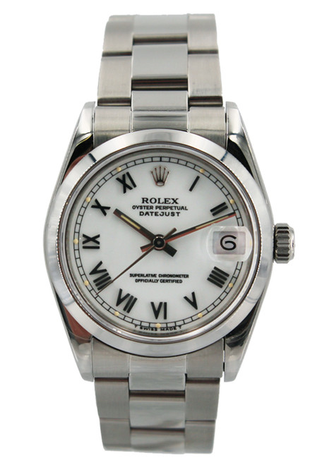 Rolex Stainless Steel Midsize Datejust - 31mm - white Roman Dial - Smooth Bezel- Oyster Bracelet - Ref. 68240