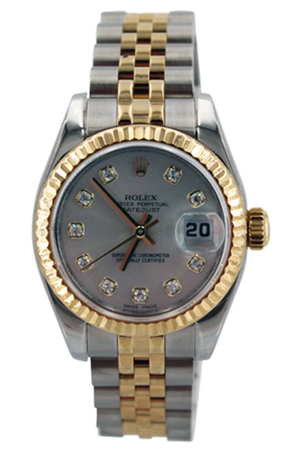 Rolex Two Tone Ladies Datejust - 26mm - Silver Diamond Dial - Fluted Bezel - Jubilee Band - Ref. 179173