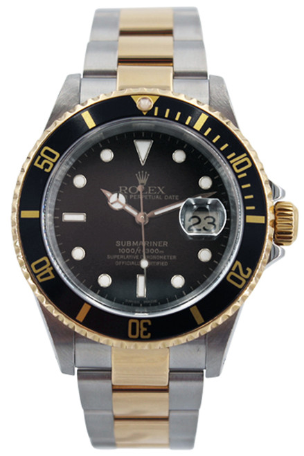 Rolex Two Tone Submariner Date - Black Dial and Black Bezel - 40mm - Ref. 16613