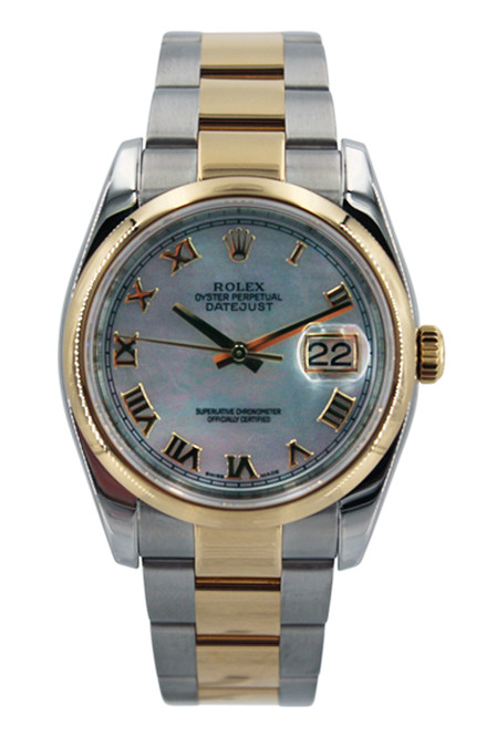 Rolex Two Tone Datejust 36mm - MOP Roman Dial - Smooth Bezel - Oyster Band - Ref.12235