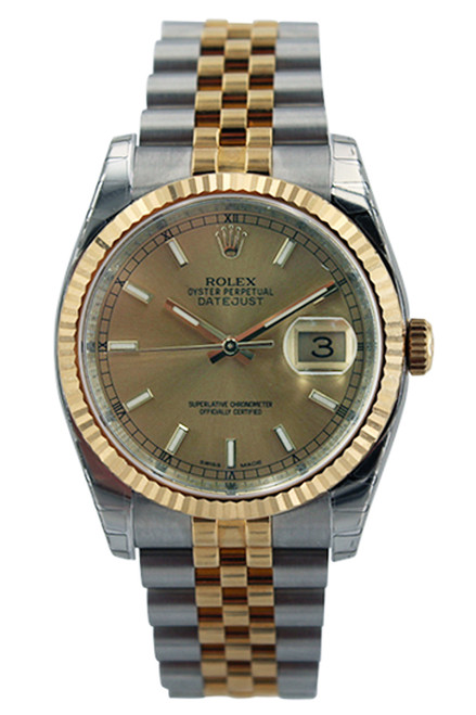 Rolex Two Tone Midsize Datejust - Champagne Index Dial - Fluted Bezel - Jubilee  Bracelet - Ref. 68273