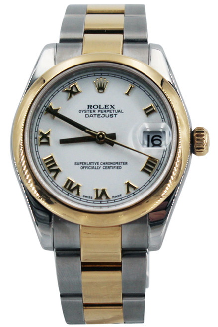 Rolex Two Tone Midsize Datejust - 31mm - Smooth Bezel - White Roman Dial - Oyster Bracelet - Ref.178243
