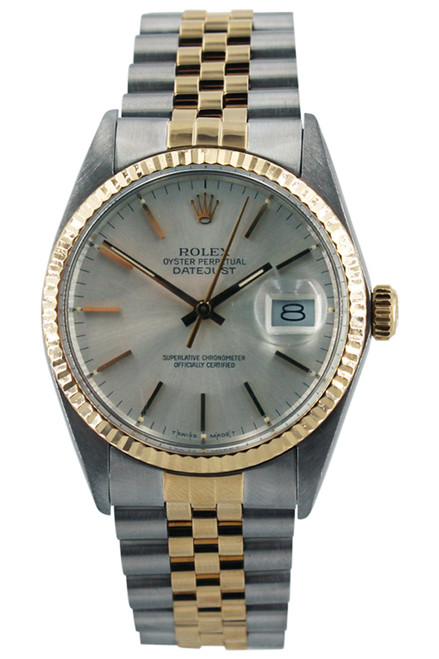 Rolex Two Tone Datejust - 36mm - Silver Index Dial - Fluted Bezel - Jubilee Band - Ref. 16013