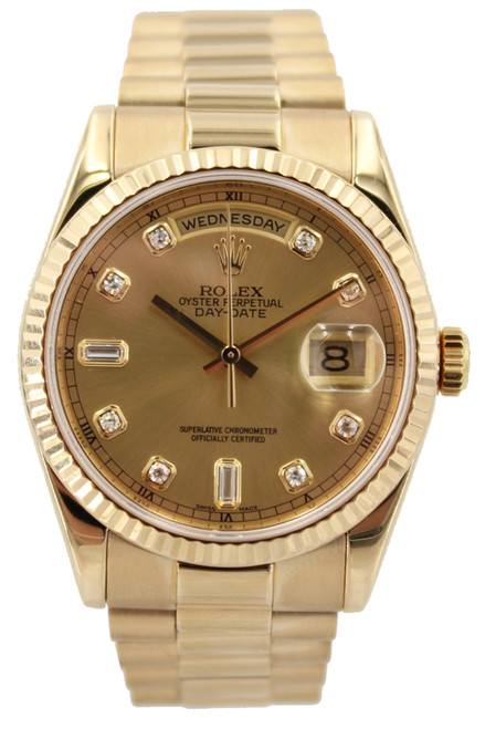 Rolex 18k Yellow Gold Day Date - 36mm - Champagne Diamond Dial - Fluted Bezel - Ref. 118238
