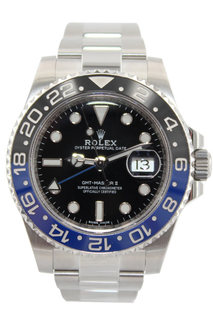 Rolex Stainless Steel GMT Master II - 40mm - Blue and Black Ceramic Bezel - Black Dial - Ref. 116710