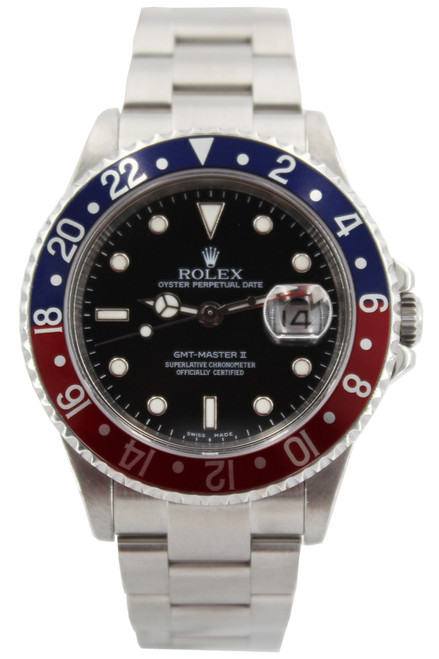 Rolex Stainless Steel GMT Master II - 40mm - Blue and Red Bezel - Black Dial - Ref. 16710