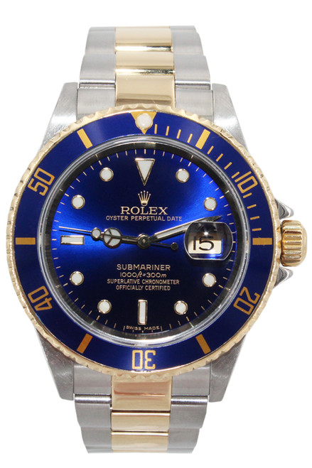 Rolex Two Tone Submariner Date - 40mm - Blue Dial - Blue Bezel - Ref. 16613