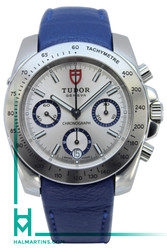 Tudor Men's SS Sport Chronograph - Blue Leather Strap - Ref. 20300