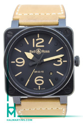 Bell and Ross BR03-92 Heritage Automatic - Black Finish - Brown Leather Strap