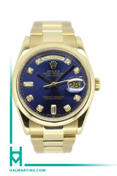 Rolex Men's 18K Yellow Gold Day-Date - Oyster Bracelet and Blue Diamond Dial - Ref. 18208