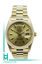 Rolex 18K Yellow Gold Day-Date President - Champagne Baton Dial - Ref. 18238