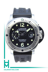 Panerai Luminor Submersible Stainless Steel - Black Dial and Black Rubber Strap - Ref. PAM 24