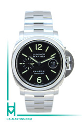 Panerai Stainless Steel Luminor Marina Automatic - Black Dial and SS Bracelet - Ref. PAM 164