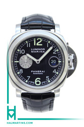 Panerai Stainless Steel Luminor Marina - Anthracite Dial and Black Leather Strap - Ref. PAM 86