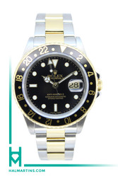 Rolex Two Tone GMT Master II - Black Dial and Gold Thru Clasp - Ref. 16713