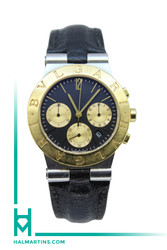 Bvlgari Men's Two Tone Diagono Chronograph - Black Dial Quartz - Ref. CH 35 SG