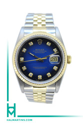 Rolex Men's Datejust Two-Tone - Gradient Blue Diamond Dial - Ref. 16233