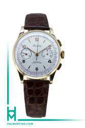 Breitling 18K Rose Gold Vintage Chronograph - Silver Arabic Dial - Brown Leather Strap