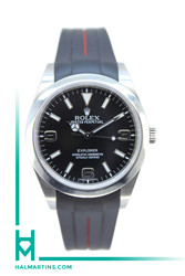 Rolex Men's Stainless Steel Explorer 39 - Black Dial and Black RubberB Strap - Ref. 214270
