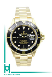 Rolex Men's 18K YG Submariner Date - Black Bezel and Black Dial - Ref. 16618