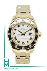 Rolex Ladies 18K Yellow Gold Masterpiece Pearlmaster Datejust - White Roman Dial - Ref. 80318