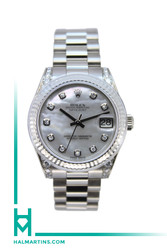 Rolex Midsize White Gold President Datejust - Factory Diamond Lugs and MOP Diamond Dial - Ref. 178239