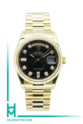 Rolex Men's 18K YG Day-Date President - Black Diamond Dial - Ref. 118238