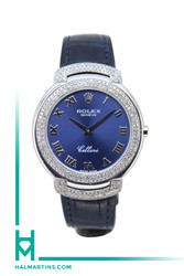 Rolex Geneve 18K White Gold Cellini - Factory Diamond Bezel and Lugs and Blue Dial - Ref. 6623/9
