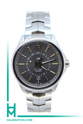 Tag Heuer SS Link Series Caliber 7 GMT Automatic - Dark Grey Dial - Ref. WAT201C