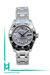 Rolex 18k WG Ladies Masterpiece Pearlmaster - Factory 12 Diamond Bezel and MOP Diamond Dial - Ref. 80319