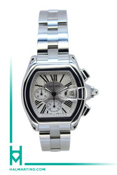 Cartier SS Roadster Automatic Chronograph - Silver Roman Dial - Ref. 2618