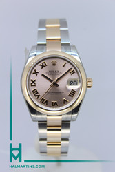 Rolex Two Tone Midsize Datejust Rose - Salmon Roman Dial - Ref. 178241