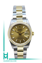 Rolex Men's Two Tone Datejust - Champagne Baton Dial and Smooth YG Bezel - Ref. 16203