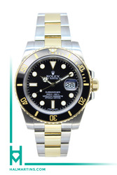Rolex Two Tone Submariner Date Ceramic - Black Ceramic Bezel and Black Dial - Ref. 11613