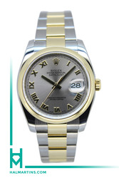 Rolex Two Tone Datejust  36mm - Rhodium Roman Dial - Ref. 116203