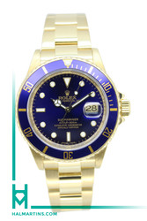 Rolex Men's 18K Yellow Gold Submariner Date - Blue Dial - Ref. 16618