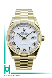 Rolex 18K Yellow Gold Day-Date President 36mm - White Roman Dial - Ref. 118238