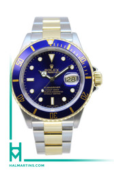 Rolex Men's Two Tone Submariner Date - Blue Dial and Blue Bezel - Ref. 16613