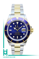 Rolex Men's Two Tone Submariner Date - Blue Dial and Bezel - Ref. 16613 (Item 11517)
