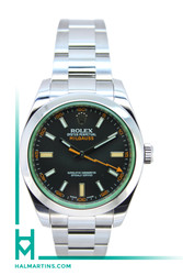 Rolex Men's Stainless Steel Milgauss  - Green Crystal and Black Dial - Ref. 116400GV