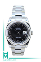 Rolex Men's Stainless Steel Datejust - Black Roman Dial - Ref. 116200