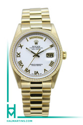 Rolex 18K Yellow Gold Day-Date President - White Roman Dial - Ref. 18238