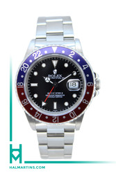 "Rolex Men's Stainless Steel GMT Master II - Red and Blue ""Pepsi"" Bezel and Black Dial - Ref. 16710"