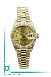 Rolex Ladies 18K Yellow Gold President Datejust - Champagne Diamond Dial and Diamond Bezel - Ref. 69178