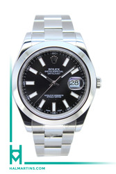 Rolex Stainless Steel Datejust II 41mm - Smooth Bezel and Black Baton Dial - Ref. 116300