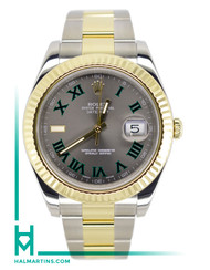 Rolex Two Tone Datejust II 41mm - Slate and Green Roman Dial - Ref. 116333